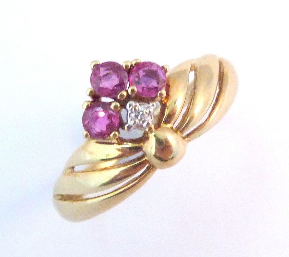 Vintage 9ct Gold Ruby And Diamond Dress Ring